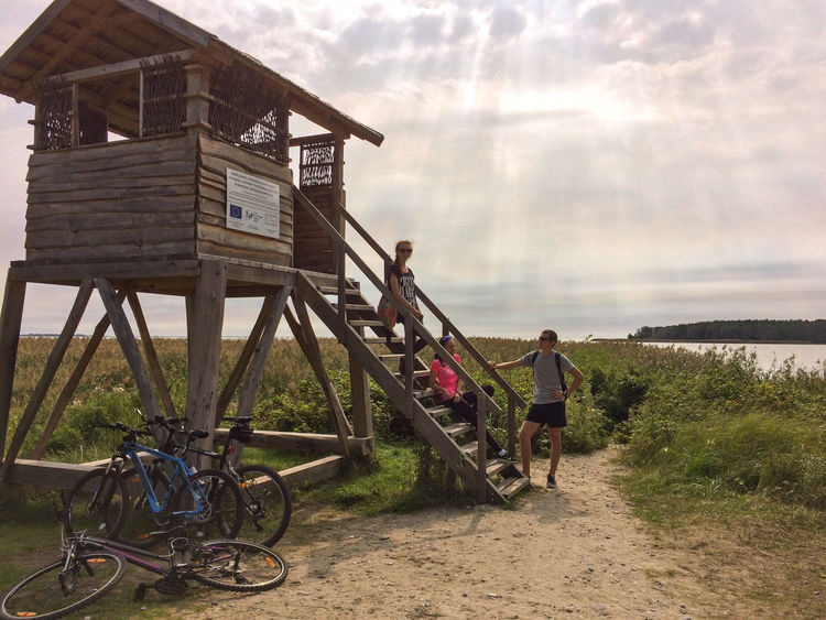Baltic Sea Bicycle Built Structure Cloud - Sky Cloudy Country Side Countryside Curonian Spit Footpath Footpath Forest Friends Group Of People Hanging Out With Friends Lifestyles Lithuania Nature National Park Outdoor Activity Outdoors Overcast Shore Sun Beams Tranquil Scene Tranquility Transportation