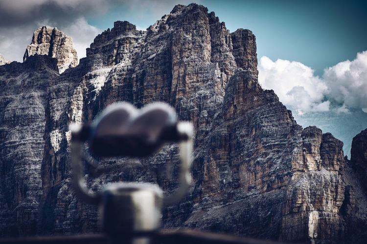 Close-up of rocks against sky