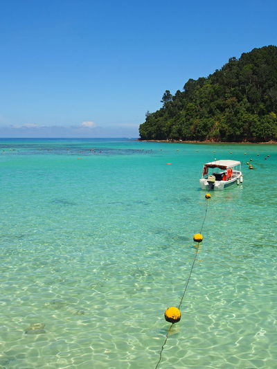 Anchor Anchored Boats ASIA Beach Beauty In Nature Blue Bluesea Boat Boat Trip Boats Clear Sky Getaway  Horizon Over Water Idyllic Kota Kinabalu Malaysia Nature Romantic Romantic Place Sabah Sapi Island Sea Summer Summer Time  Water