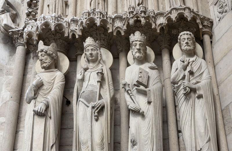 Statues in Notre Dame. Notre Dame Cathedral Notre Dame De Paris Notre-Dame Sculpture Statue Architecture Spirituality Stone Material Religion History Gothic Architecture Place Of Worship Built Structure Male Likeness Carved In Stone