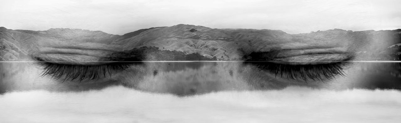 Blackandwhite New Zealand Hills Potrait Double Exposure