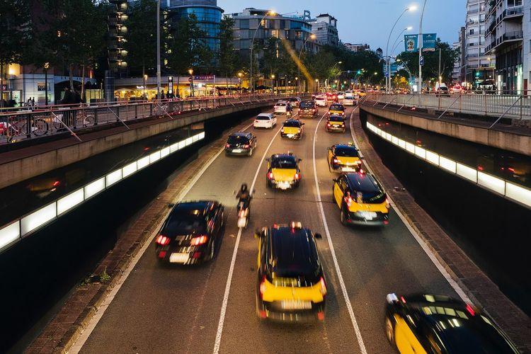 Barcelona Taxi #Night #streetphotography #barcelona #taxi Transportation City Road Illuminated Street Land Vehicle