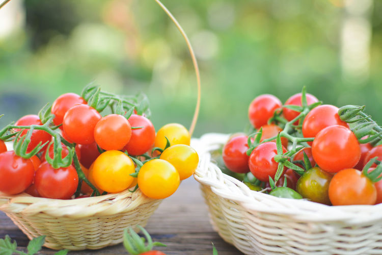 Close-up of cherry tomatoes in baskets on table