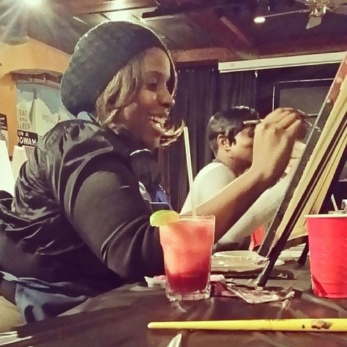 Drinking Sangrita (Sangria and Margartia ) and painting pictures @zen_west Baltimore! NightOut smile buzz pubandpaint