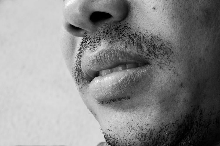 Close-Up Of Man Mouth