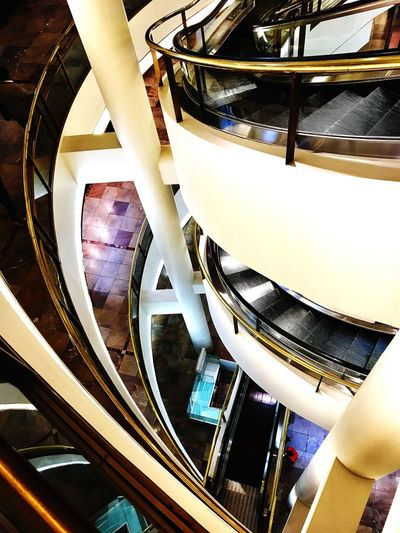 Architecture Built Structure Indoors  Staircase Steps And Staircases Ceiling Railing Steps No People Low Angle View Modern Architectural Design Illuminated Day EyeEmNewHere