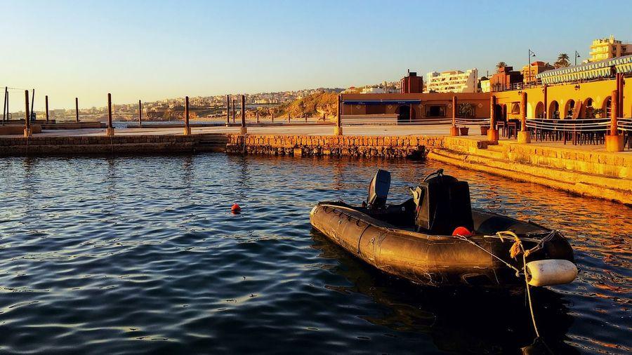Sunset Seaside Sea Zodiac Port Byblos Springtime