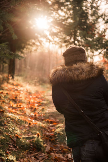 Always look on the bright side Adult Adults Only Autumn Cold Temperature Colorful Day Human Body Part Men Nature One Person Outdoors People Portrait Rear View Tree Warm Clothing Woman Young Woman