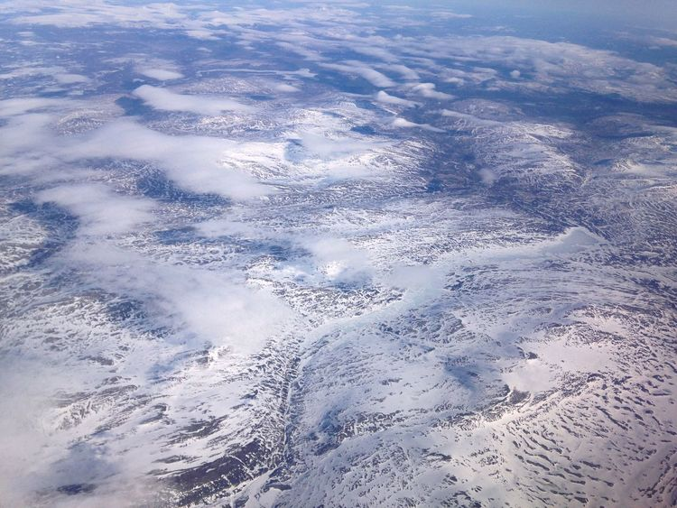 Aerial View Beauty In Nature Cold Temperature Day High Angle View Landscape Mountains Norway Outdoors Snow Tranquility View From Above View From Plane Window Winter