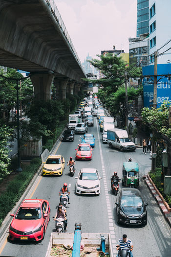 High angle view of traffic on road