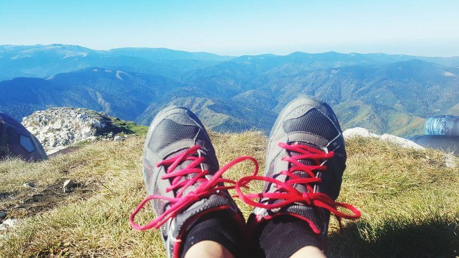 world at my feet View Romania Peak Altitude Fresh Air... Mountain Hiker Low Section Mountain Human Leg Women Shoe Personal Perspective Sunlight Sky Footwear