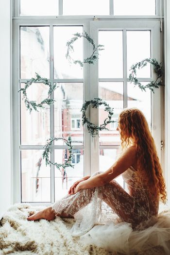 Bride Redhead One Woman Only Only Women One Person Window Adults Only Indoors  One Young Woman Only Beautiful Woman Young Adult Long Hair Adult Looking Through Window Beautiful People People Beauty Wedding Dress Young Women Bride Day