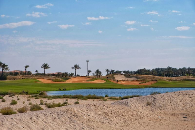 Saadiyat Beach Club Golf Course Golf Course Golf Golf Club Golfing Teavel Destination Dubai Abudhabi Saadiyat Outdoors Outdoor Photography Landscape Agriculture Nature Tranquility Water Rural Scene Cloud - Sky