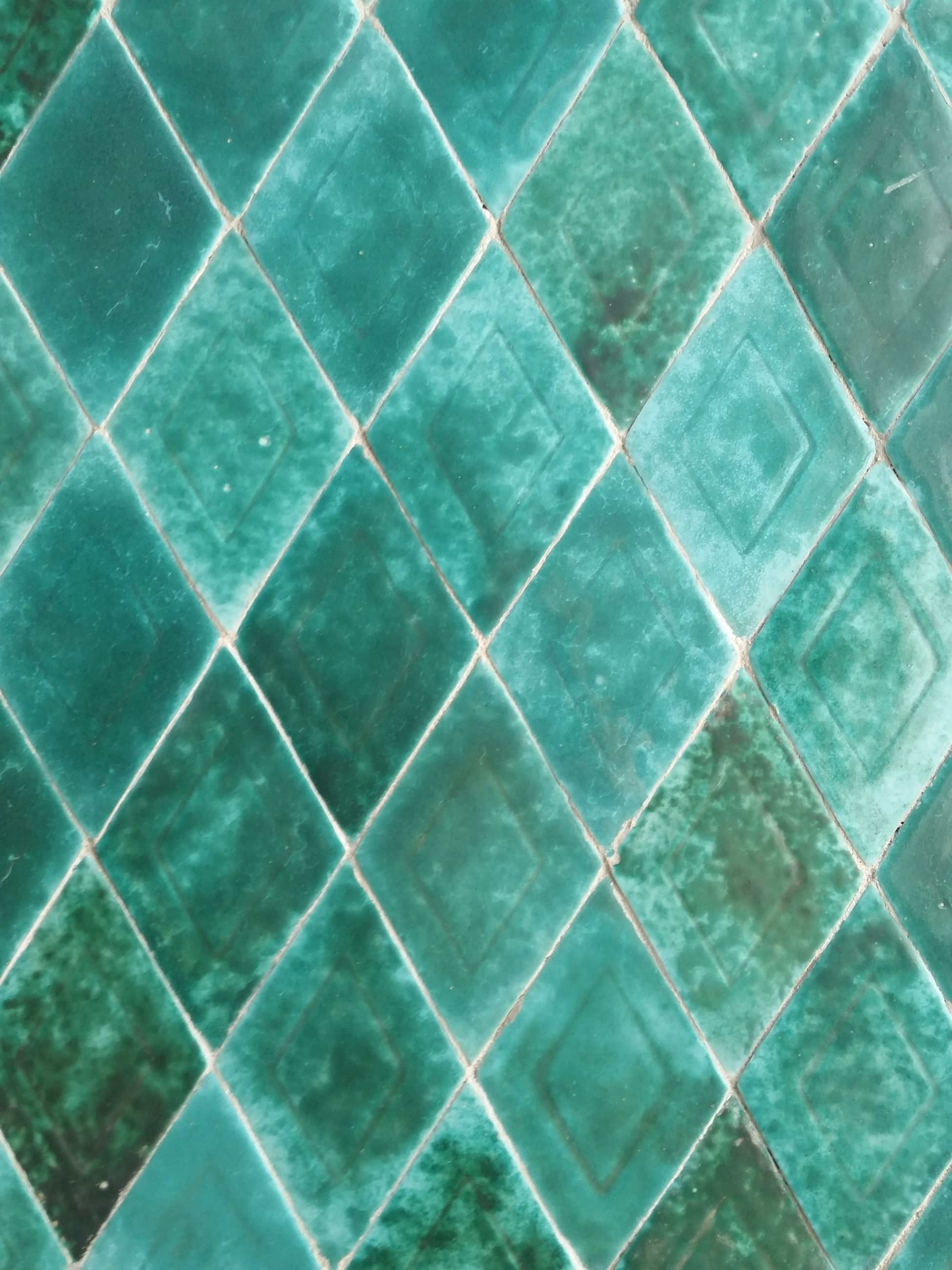 full frame, backgrounds, pattern, no people, close-up, textured, tile, design, shape, abstract, grid, green color, indoors, turquoise colored, geometric shape, flooring, textile, blue, repetition, nature, textured effect, swimming pool
