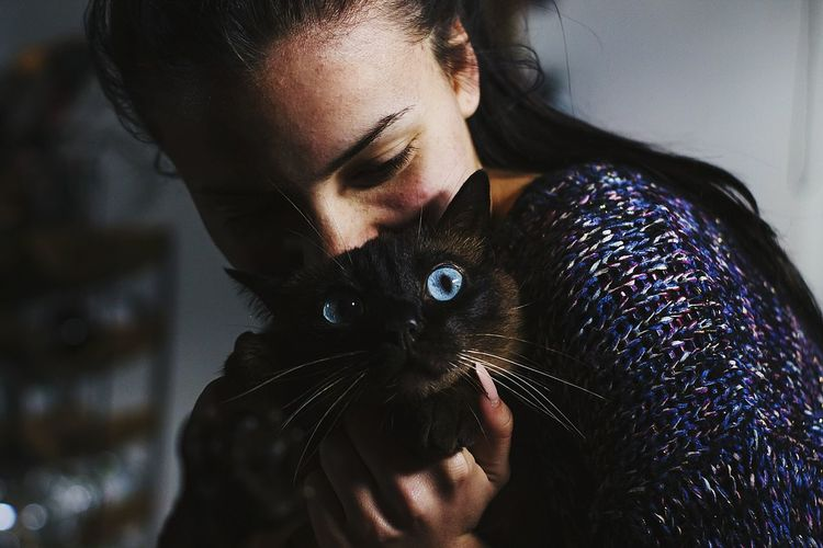 Close-up of young woman holding cat at home