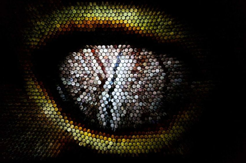 No People Close-up Pixelated Illuminated Eye Multi Colored Abstract Textured  Lizard Straws Strawcamera Pattern