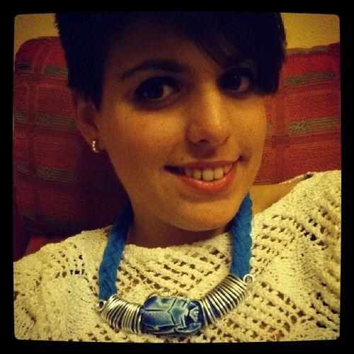 Me voy de cenita Collar Egipcio Azul CutHair Sonrisita Ojinos