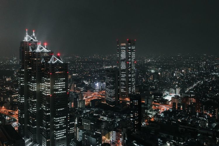 Tokyo night view from the Metropolitan Building Observatory Architecture Illuminated Cityscape Night Built Structure City Travel Destinations Tokyo Japan Night Photography Nightlights Skyscraper Architecture