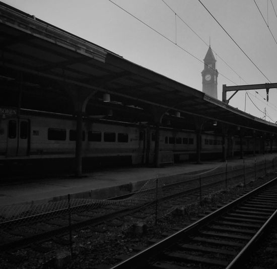 Railroad station against sky