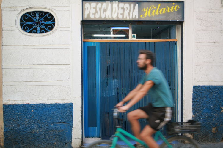 Bicycle Blue City Life One Color One Person People Speed Andalucia Spain
