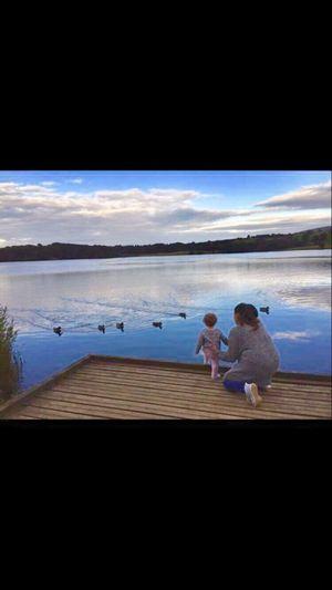 Lake Ducks Lake View Mum Daughter Clouds And Sky Family