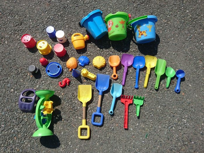 Abundance Beach Toys Beachtoys Choice Colorful High Angle View Large Group Of Objects Multi Colored No People Outdoors Plastic Sand Toys Sandtoys Spool Street Toys Variation Vibrant Color A Bird's Eye View The Color Of School The Color Of Kindergarden Kindergarten Beautifully Organized