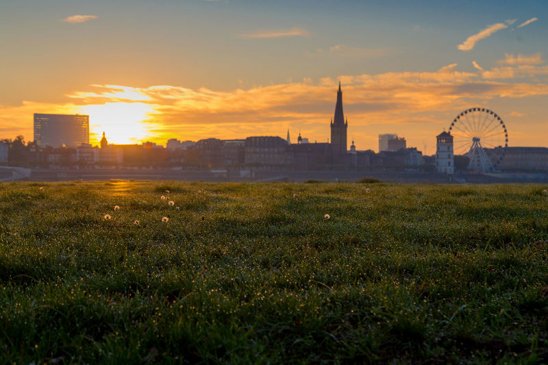 Duesseldorf, Germany Deutschland Morning Morning Light Morning Sun Morning Sky NRW Sonnenaufgang City Cityscape Field Germany Grass Morgenstimmung Nature No People Outdoors Sky Sun Sunrise Sunset Urban Skyline