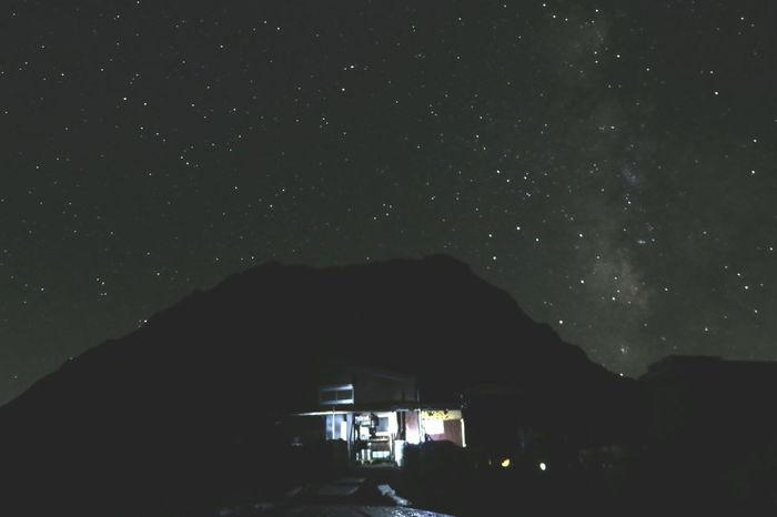 天の川🌌 Mountain Mountain Hut Night Sky Night View Night Lights Nightphotography Light And Shadow Milkyway Galaxy Space From My Point Of View Beautiful Nature Mountain Hiking Mt.Kitadake 北岳 PowerShot G3 X 山の夜の楽しみ😊