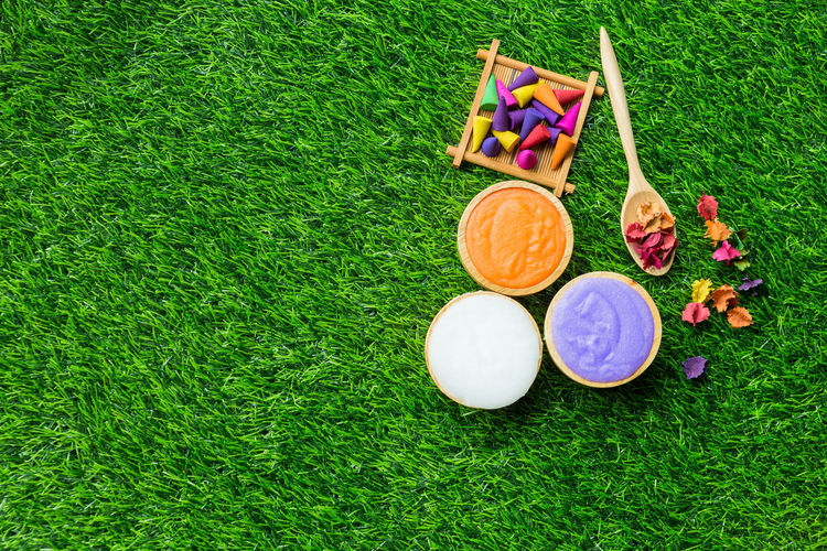 High angle view of beauty products with colorful petals and pebbles on grassy field