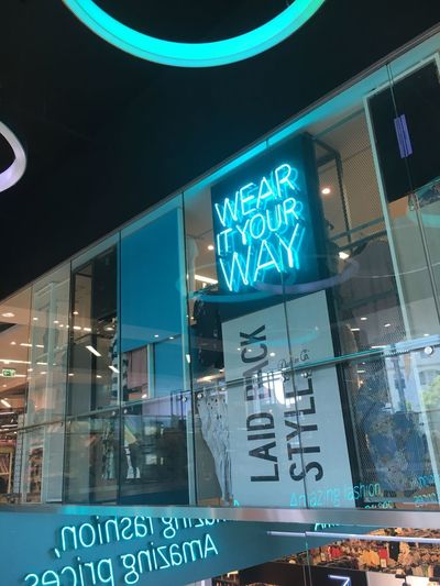 Wear Communication Text Illuminated Building Exterior Sign Built Structure Glass - Material