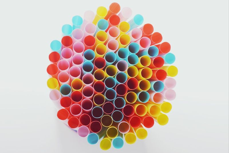Straws Colours Colourful Perspective