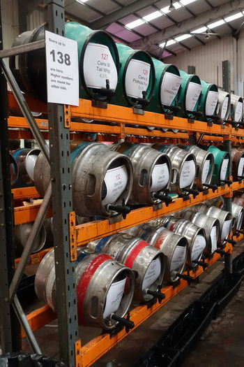 Beer Time Cains Brewery Casks In A Row Indoors  Liverpool Liverpool Spring Beer Festiva No People Real Ale
