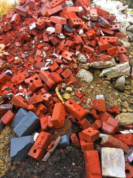 Showcase: January pile of bricks and rubble Red Blocks Construction Site Builders Building Demolition Concrete