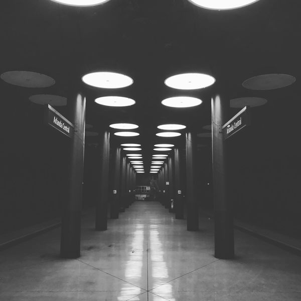 Architecture Architecture Built Structure Hall Hallway Illuminated Indoors  Lights No People Pillars Stockholm Symmetrical Symmetry The Way Forward