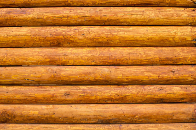 Wall of the rural house from wooden logs Backgrounds Close-up Day Full Frame Knotted Wood Material Nature No People Outdoors Pattern Plank Textured  Timber Wood - Material Wood Grain