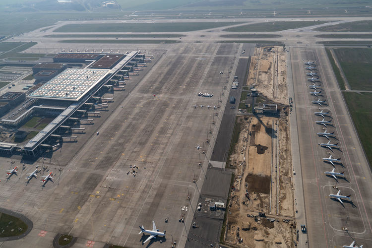 High angle view of airport runway