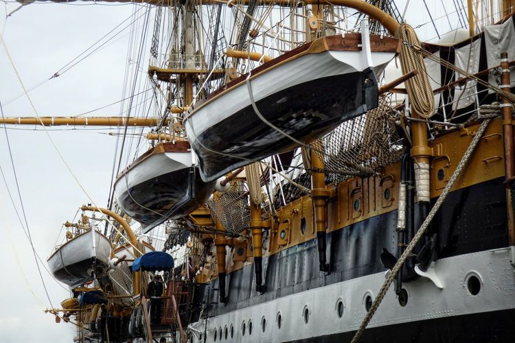 Low angle view of tall ship rigging