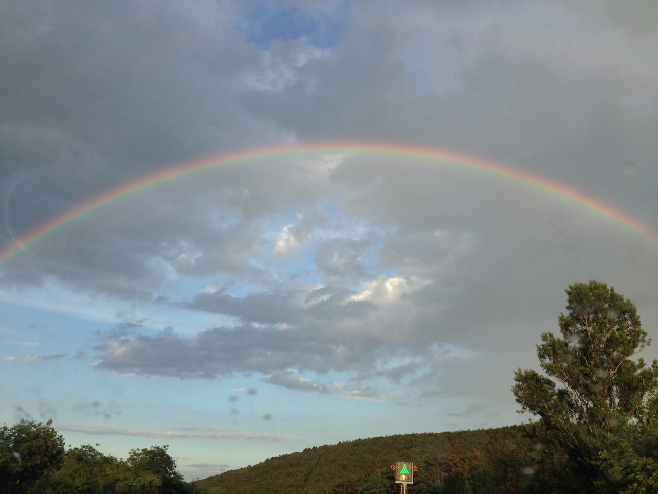 Scenic View Of Rainbow Against Cloudy Sky