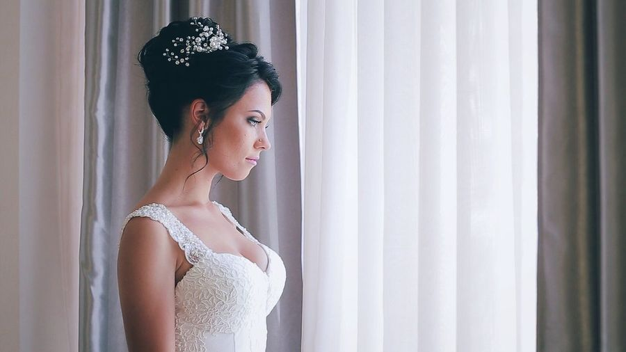 Wedding Dress Bride Window Wedding One Person Only Women Curtain Indoors  Fashion Adults Only One Woman Only Tradition Adult Beauty Young Adult Life Events People Portrait Evening Gown Tiara Waiting Woman Woman Portrait Longing Portrait Of A Woman