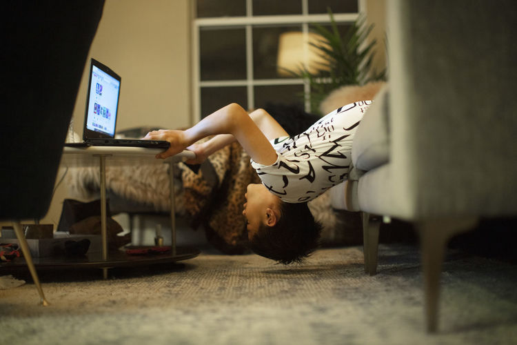 Woman lying down at home