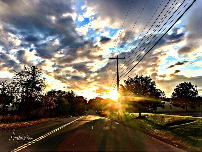 Sunset from the car Sky Sun Sunset Sunbeam Nature No People Power Line  Tree Outdoors Season  Southington, Conn EyeEm car