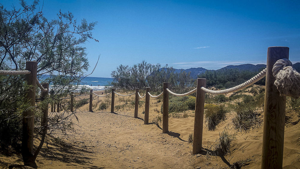 Calblanque Natural Park Calblanque Spain Beauty In Nature Blue Calblanque Clear Sky Day Environment Footpath Land Landscape Nature No People Non-urban Scene Outdoors Plant Post Sand Scenics - Nature Sky Sunlight The Way Forward Tranquil Scene Tranquility Tree