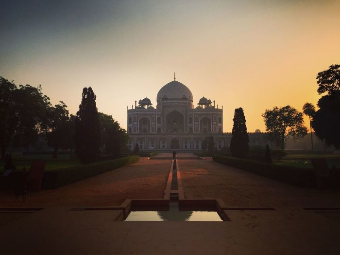 Humayuns Tomb Against Clear Sky At Sunset