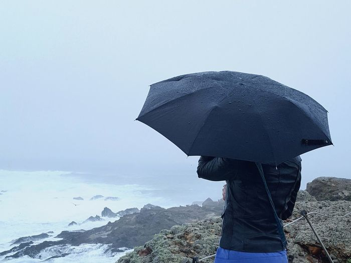 One Person Warm Clothing Outdoors Rainy Days Umbrella CA Pasific Ocean Welcome To Black Long Goodbye TCPM Lost In The Landscape California Dreamin