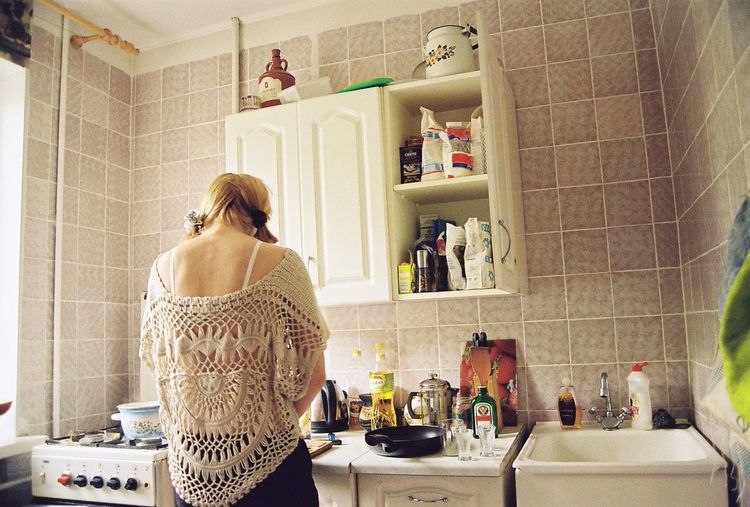 Kitchen . Analogue Photography 35mm Film Girl People