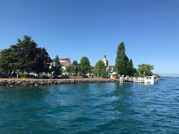 Waterfront Travel Destinations Lake Geneva Coastline Built Structure Water Building Exterior Blue Clear Sky Coast Lake Evian Les Bains Port