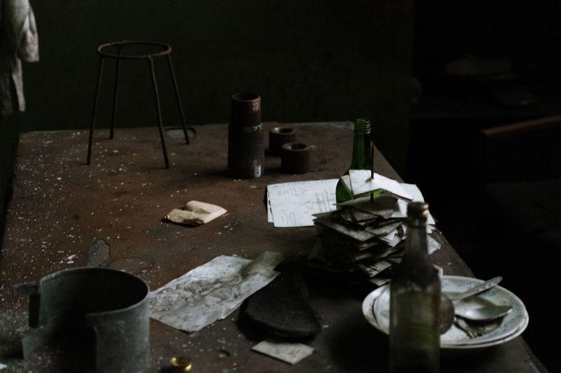 High angle view of broken glass on table