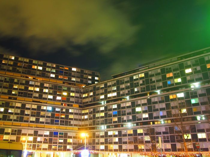 Le Lignon, one of the largest residential complexes in the world Business Finance And Industry City Cityscape Illuminated Neon Night No People Outdoors Retail Place Sky Star - Space Travel Destinations