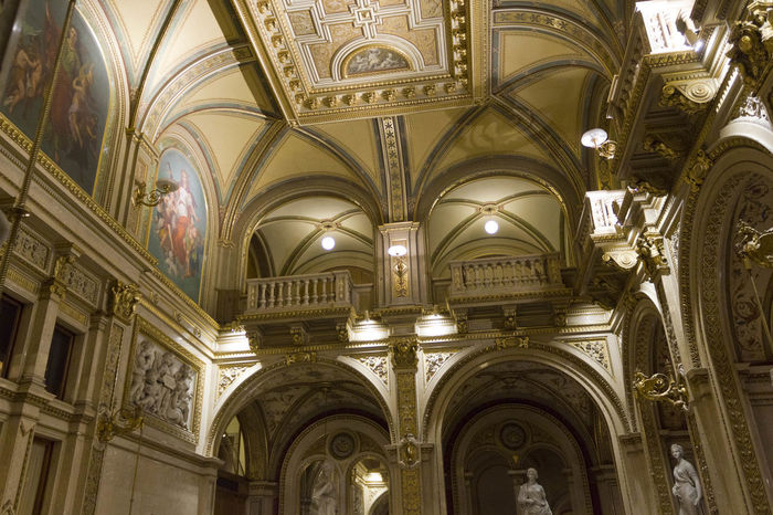 Vienna Opera House, interiors Architecture Ceiling Historical Building Interiors Opéra Theater Vienna Arch Architectural Feature Architecture Built Structure Ceiling Ceiling Design Historic History Indoors  Low Angle View No People Opera House Operahouse Royal Staatsoper Theatre Wien Wiener