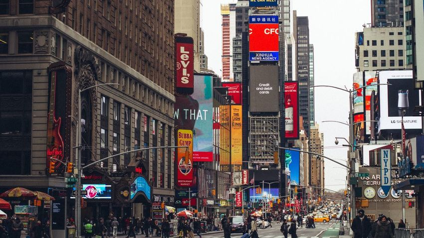 City Street Travel Destinations Times Square NYC Times Square New York City Yellow Taxi Billboard